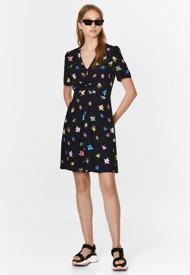 BIMBA Y LOLA BLACK MULTICOLOR-ORCHID DRESS - Korte jurk - multicolor/orchid black