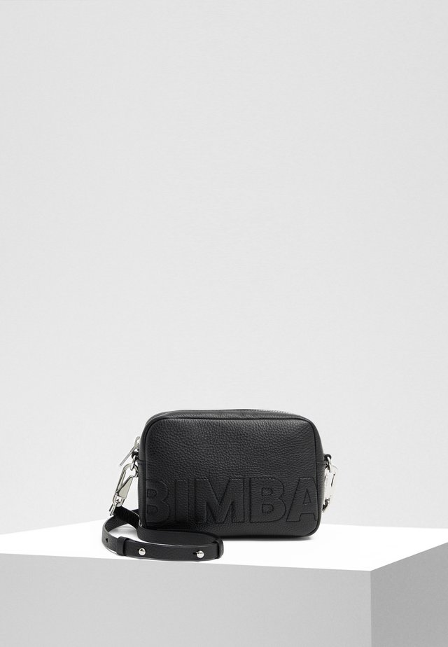 BIMBA Y LOLA BLACK LEATHER CROSSBODY BAG LOGO - Schoudertas - black