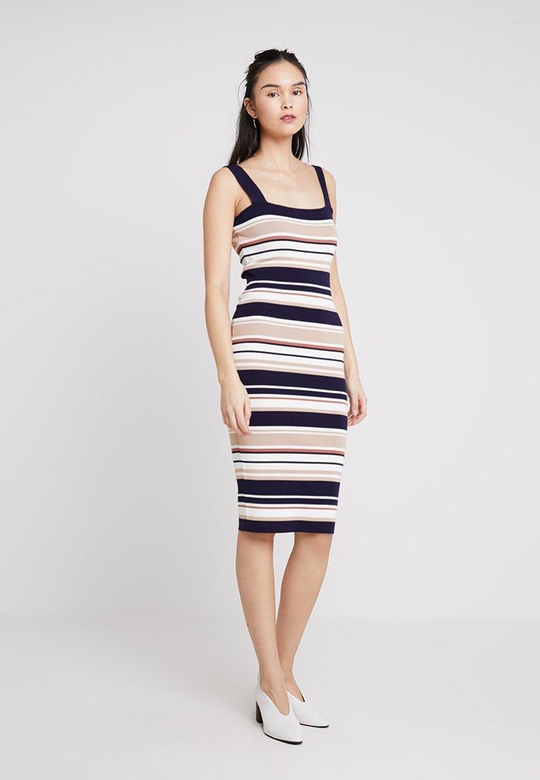 Bardot - STRIPE DRESS - Shift dress - pebble/navy