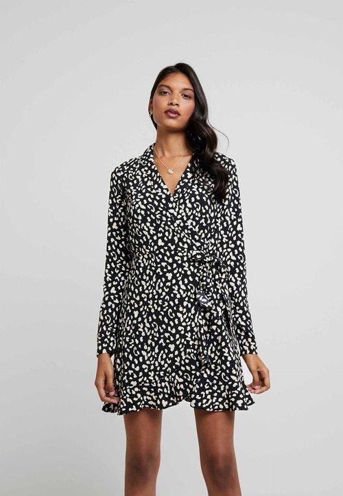 Darmowa dostawa Bardot LEO WRAP DRESS - Sukienka koktajlowa - black Odzież Damska Sukienki NZMR-PZ7