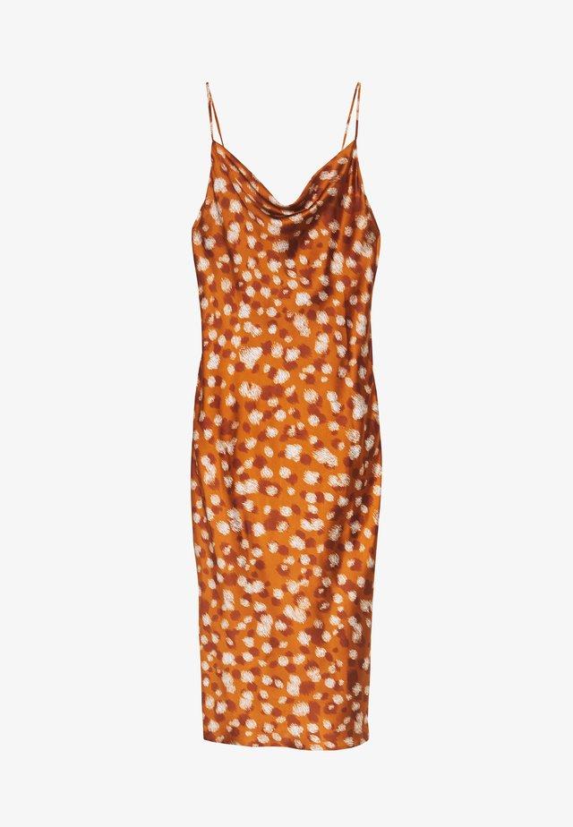 PRINTED SLIP DRESS - Korte jurk - light brown