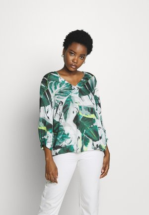 Blouse - white/green