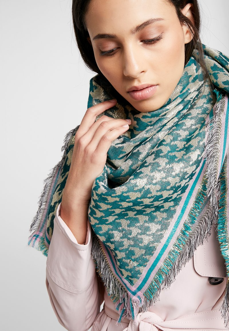Becksöndergaard - ESTHER HOUNDSTOOTH SCARF - Pañuelo - darkest green