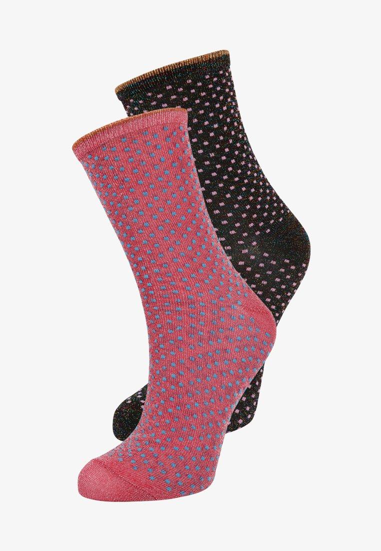 Becksöndergaard - DINA SMALL DOTS GLITTER 2 PACK - Ponožky - fuchsia pink/raspberry wine