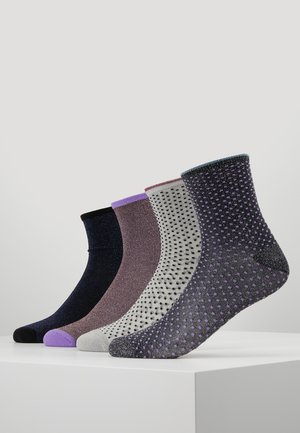 DINA SOLID SMALL DOTS GLITTER 4 PACK - Sokker - purple/metallic blue/grey melange