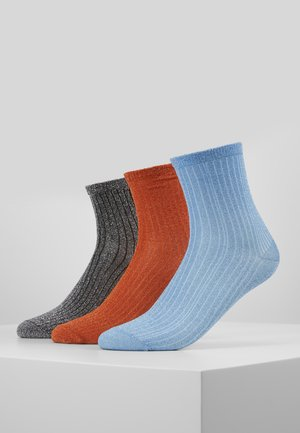 DINA 3 PACK - Sokken - russet orange/light blue/silver
