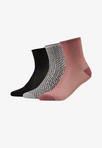 Becksöndergaard - DINA SOLID SMALL 3 PACK - Socken - black/wistful mauve/grey melange - 1