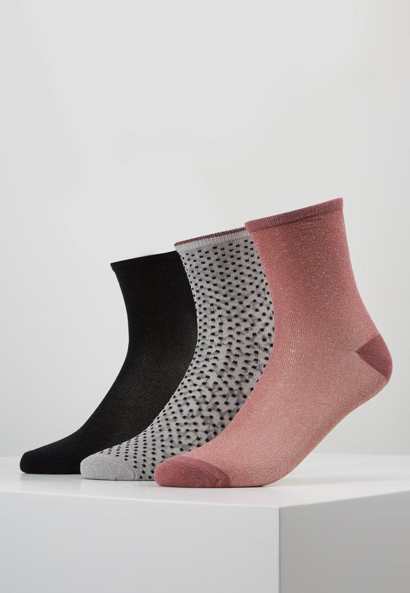 Becksöndergaard - DINA SOLID SMALL 3 PACK - Socken - black/wistful mauve/grey melange