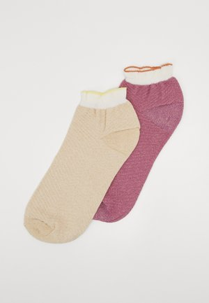 DOLLY HERRINGBONE FRILL SOCK 2 PACK - Sokker - nutmeg white/mauve orchid