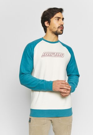 RETRO CREW - Fleece jumper - beige/turquoise