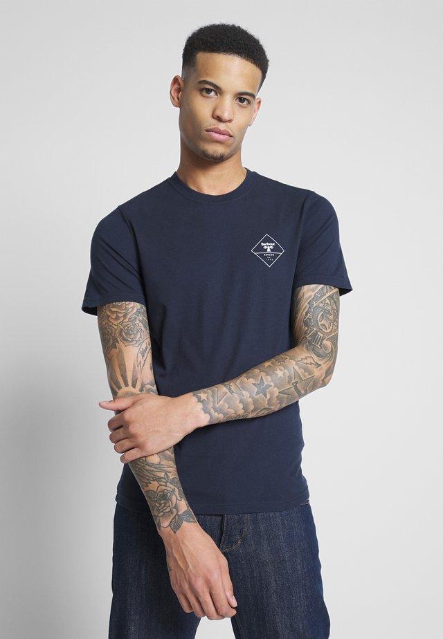 BEACON BOX LOGO TEE - T-shirt z nadrukiem - navy