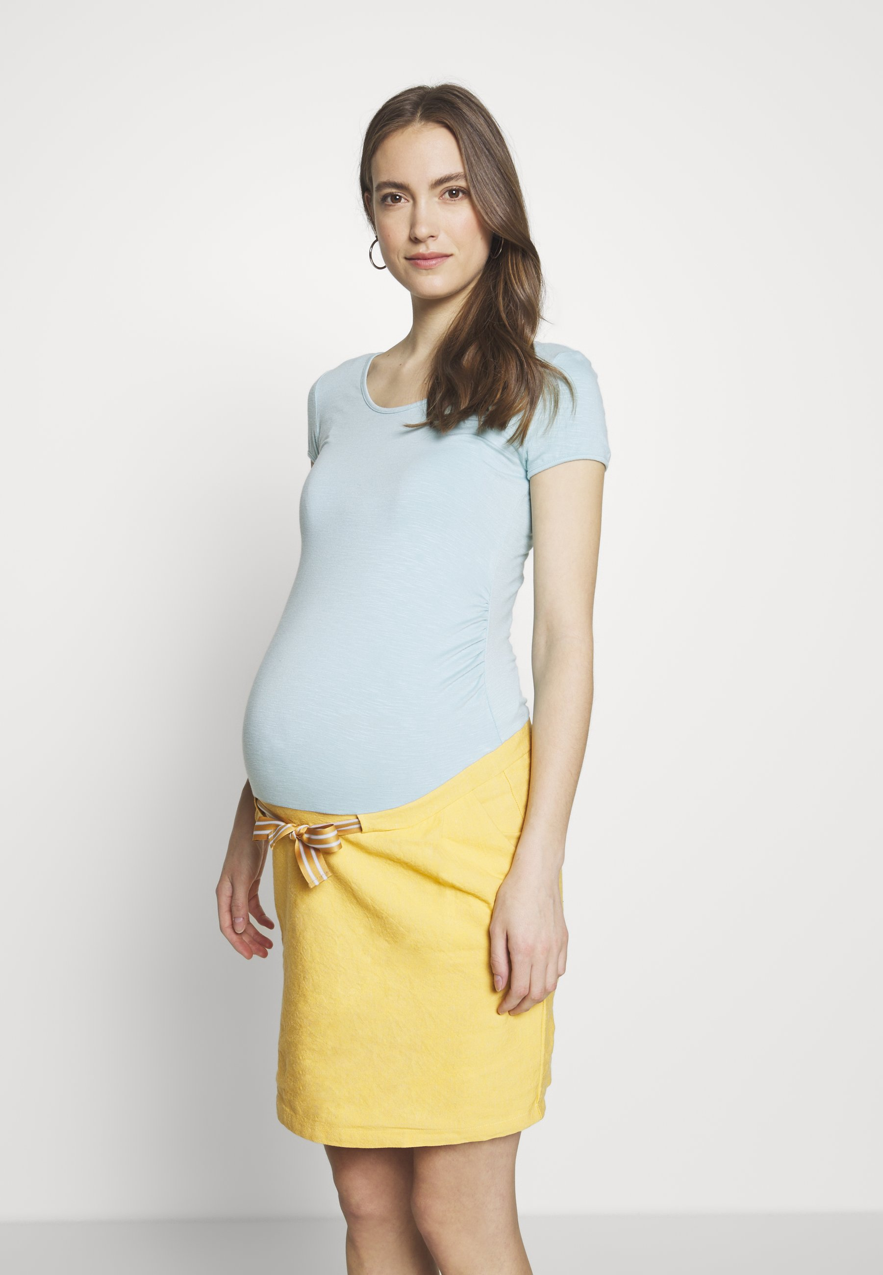 Balloon DRESS SHORT SLEEVES - Jerseykjole - celadon/yellow