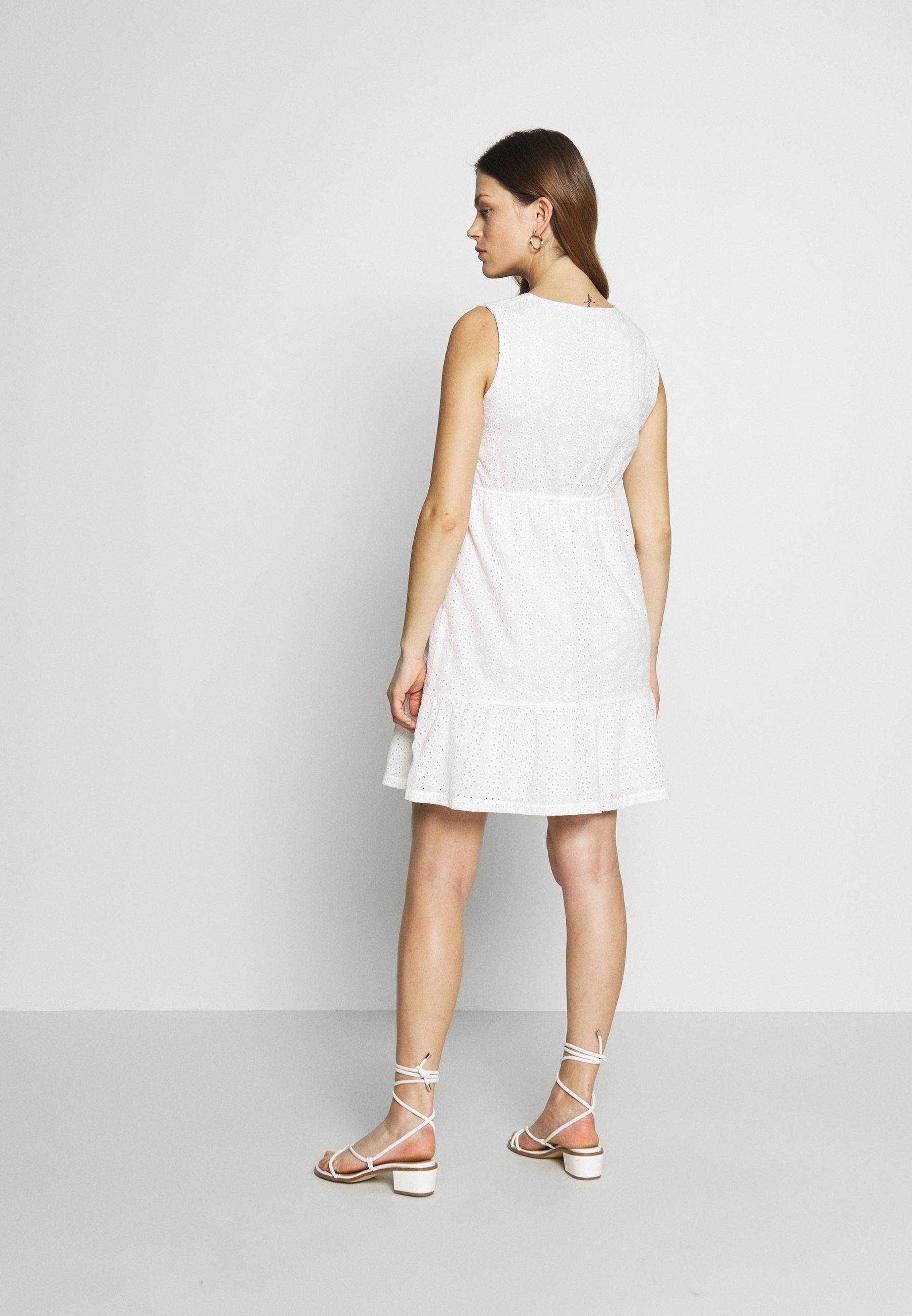 Balloon DRESS WITHOUT SLEEVES WRAP NECKLINE - Sukienka letnia - white