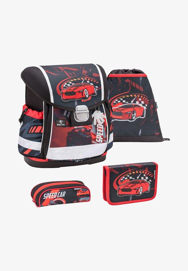 SET - School bag - metallic red