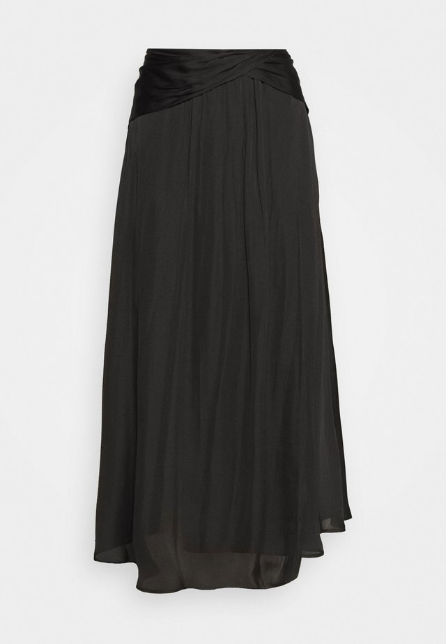 FOLDOVER WAISTBAND SOFT MIDI - Pencil skirt - black