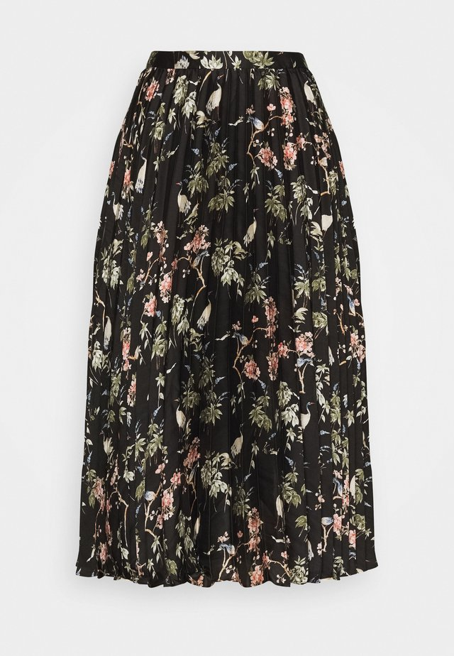 PLEATED MIDI PRINT - A-line skirt - black