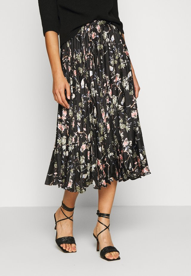 PLEATED MIDI PRINT - Plooirok - black