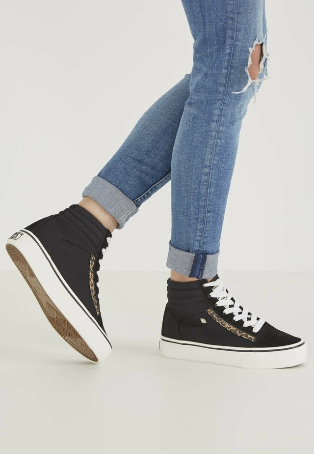 High-top trainers - black/brown leopard