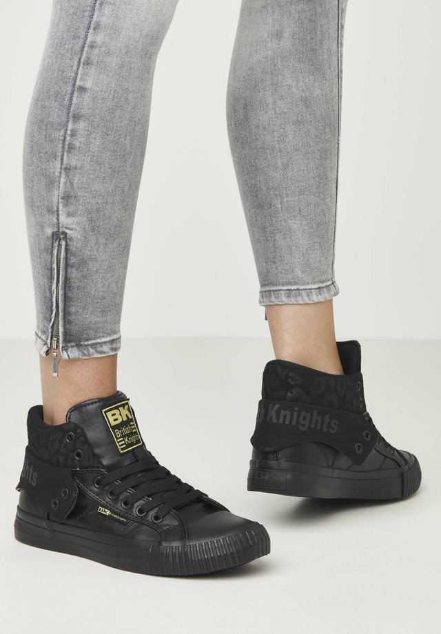 SNEAKER ROCO - Sneakersy wysokie - black/black leopard/black