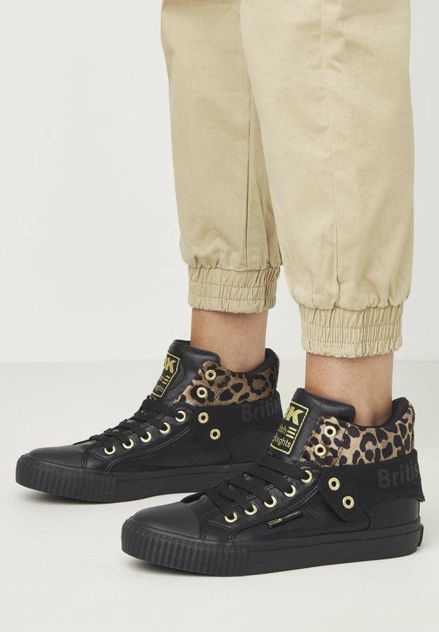 SNEAKER ROCO - Sneakersy wysokie - black/rust leopard/gold/black