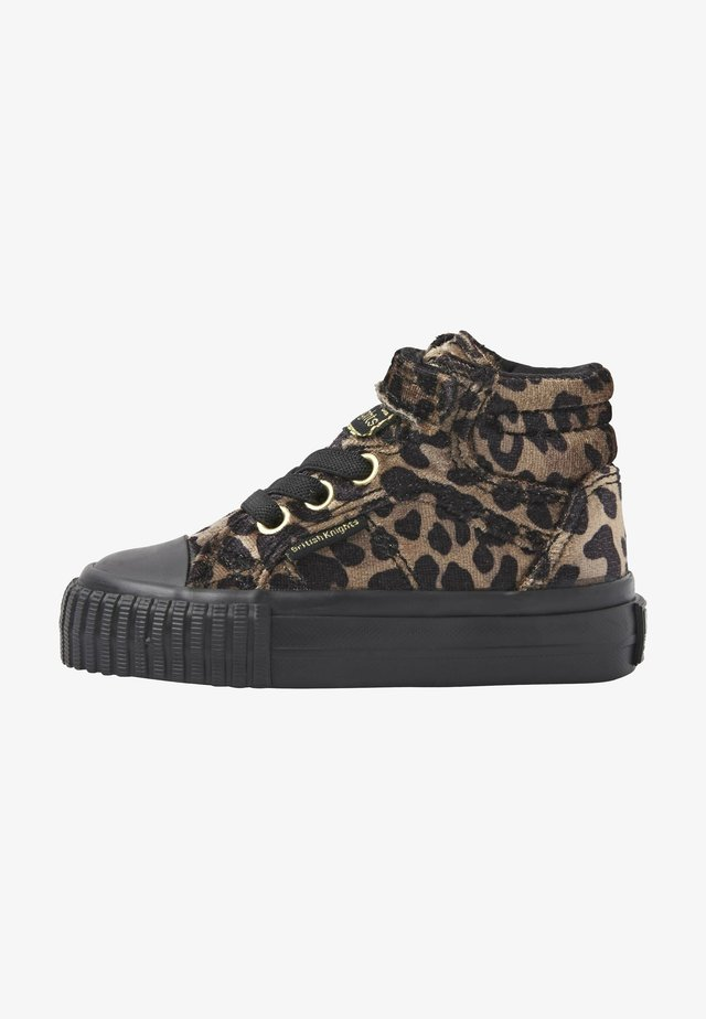 High-top trainers - rust leopard/gold/black