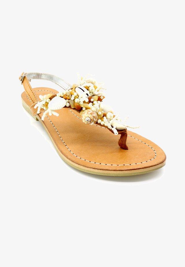 MULTI SHELL - T-bar sandals - beige