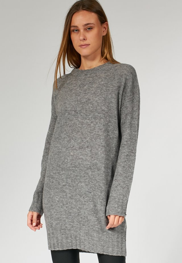 RELAXED DRESS ZIPPER AT BACK - Gebreide jurk - grey