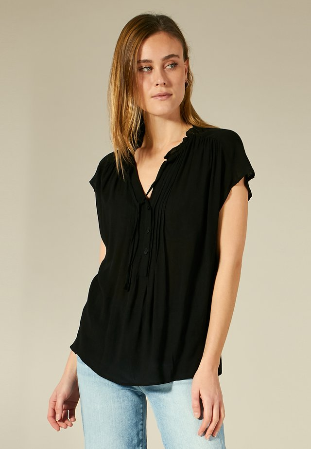 SHIRT MIT KNOPFLEISTE - Blouse - black
