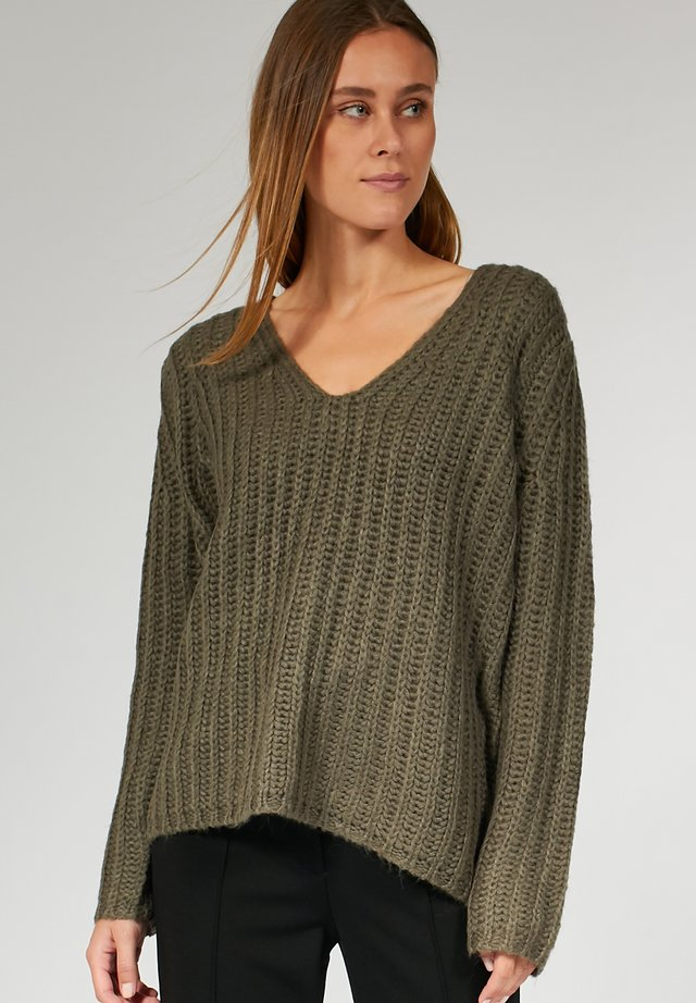 DEEP NECK - Pullover - taupe