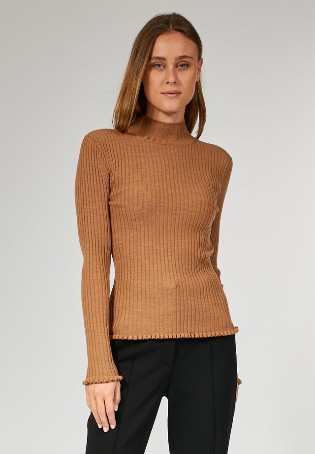 TIGHT HIGH NECK - Pullover - light brown