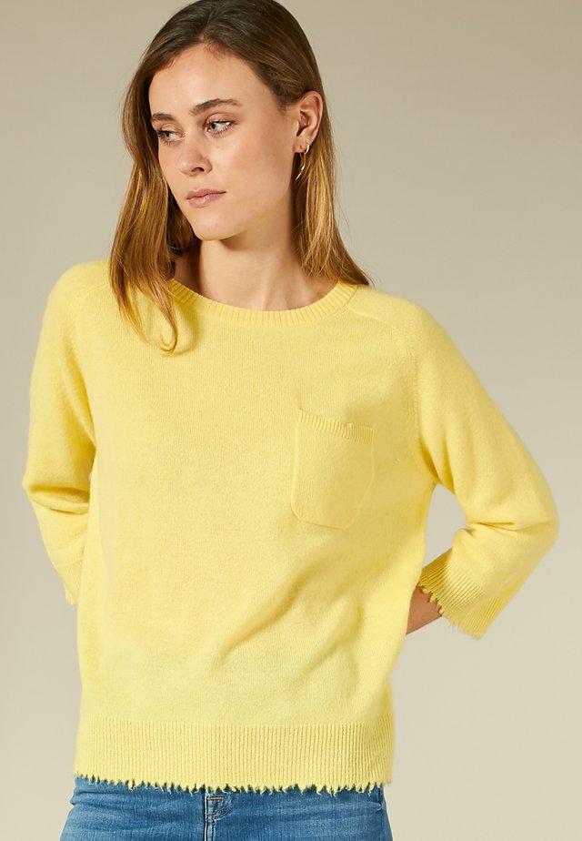 KASCHMIRPULLOVER MIT BRUSTTASCHE - Trui - sunny yellow