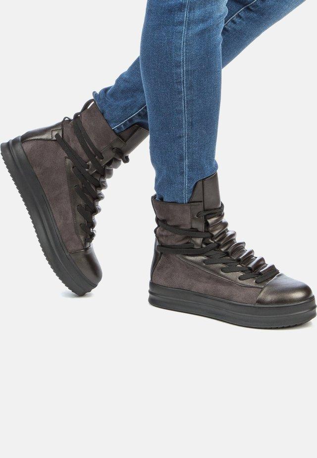 Platform ankle boots - dark grey/black