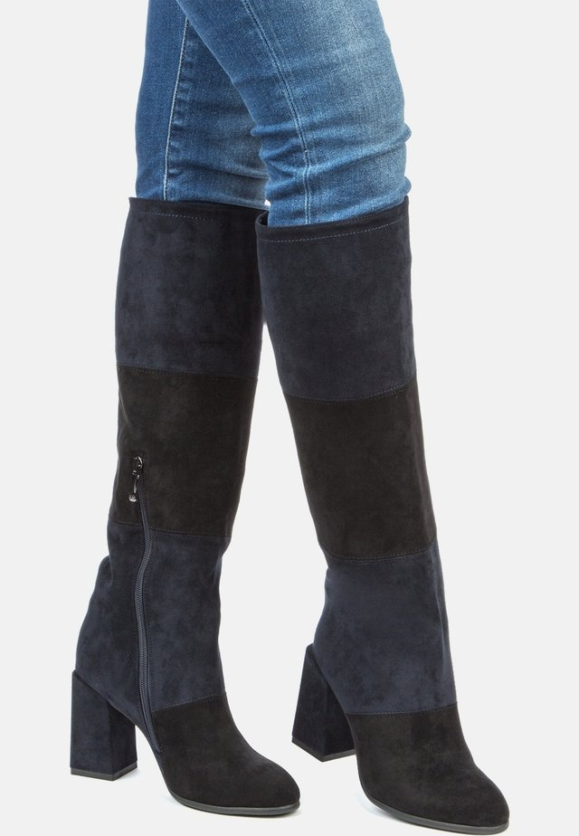 High heeled boots - black dark blue
