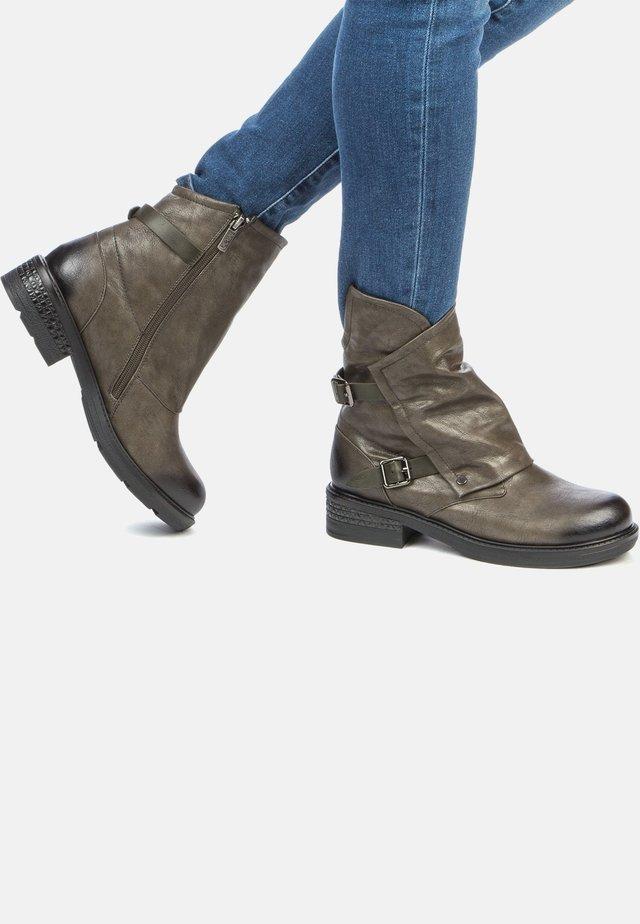 Cowboy/biker ankle boot - khaki