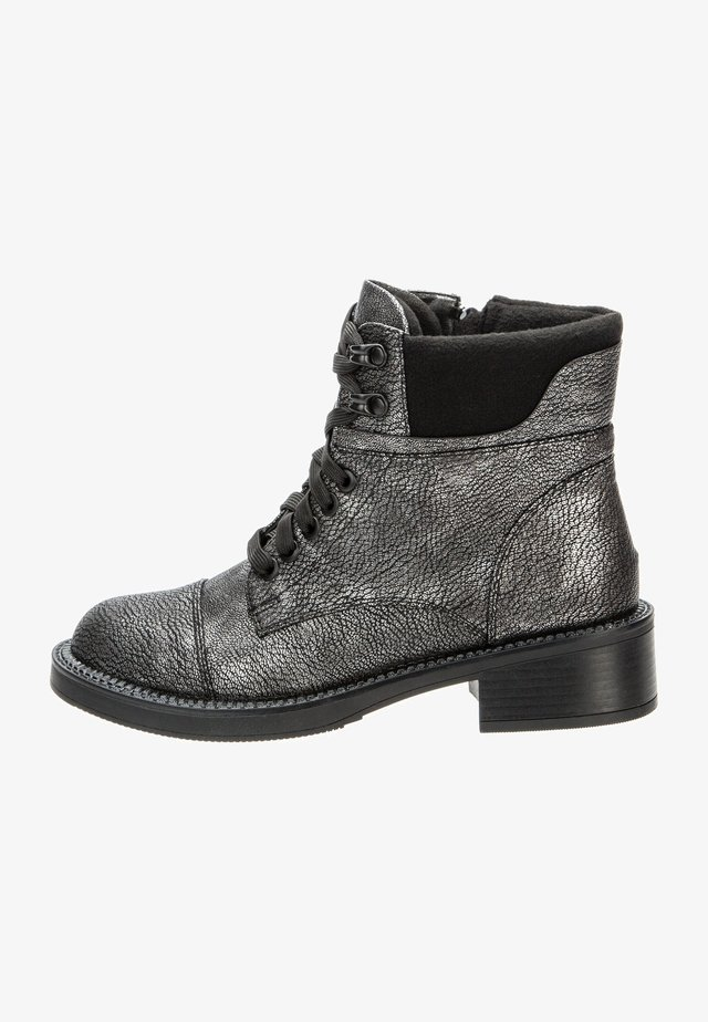 Lace-up ankle boots - dark silver black