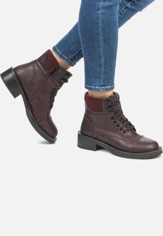 Lace-up ankle boots - dark bordeaux