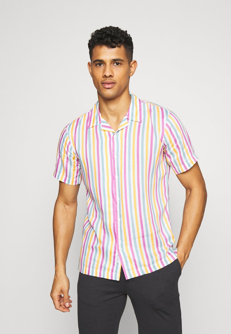 Bellfield - CUBAN COLLAR STRIPE PRINT - Shirt - white