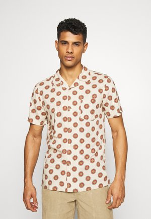 SINGLE POCKET CUBAN COLLAR DIAL PRINTED SHIRT - Skjorta - mushroom