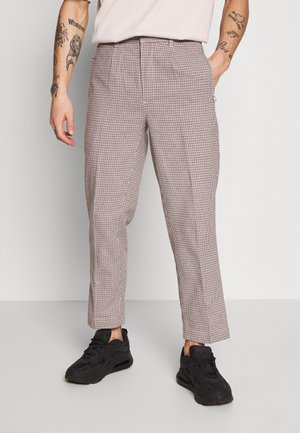 CROPPED TAILORED HOUNDSTOOTH TROUSER - Kalhoty - mushroom