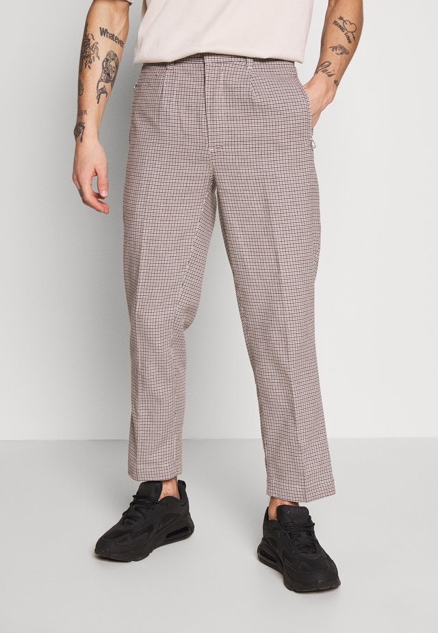 CROPPED TAILORED HOUNDSTOOTH TROUSER - Pantalon classique - mushroom