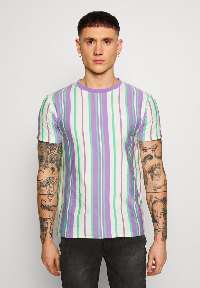 EMBROIDERY LOGO STRIPE TEE - T-shirts print - lilac