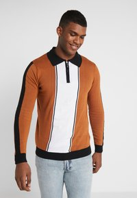 Bellfield - SIDE STRIPE ZIP FUNNEL NECK - Pullover - old gold/black - 0