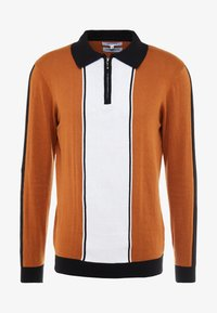 Bellfield - SIDE STRIPE ZIP FUNNEL NECK - Pullover - old gold/black - 4