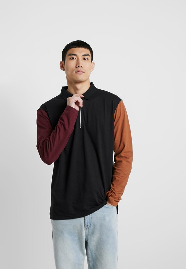 COLOUR BLOCK - Polo shirt - black