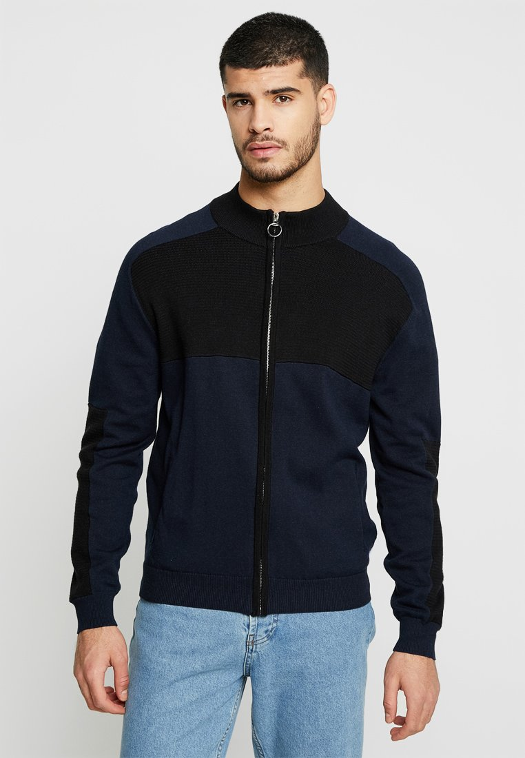 Bellfield - ZIP UP TEXTURE BLOCK - Cardigan - navy