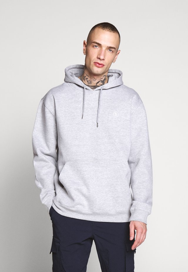 HOODY EMBORIDERY BADGE - Sweat à capuche - grey marl