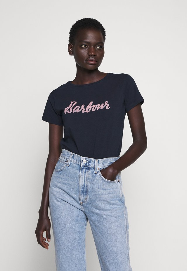 REBECCA TEE - Print T-shirt - navy/pink