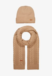 Barbour - CABLE HAT SCARF SET - Scarf - mink - 1