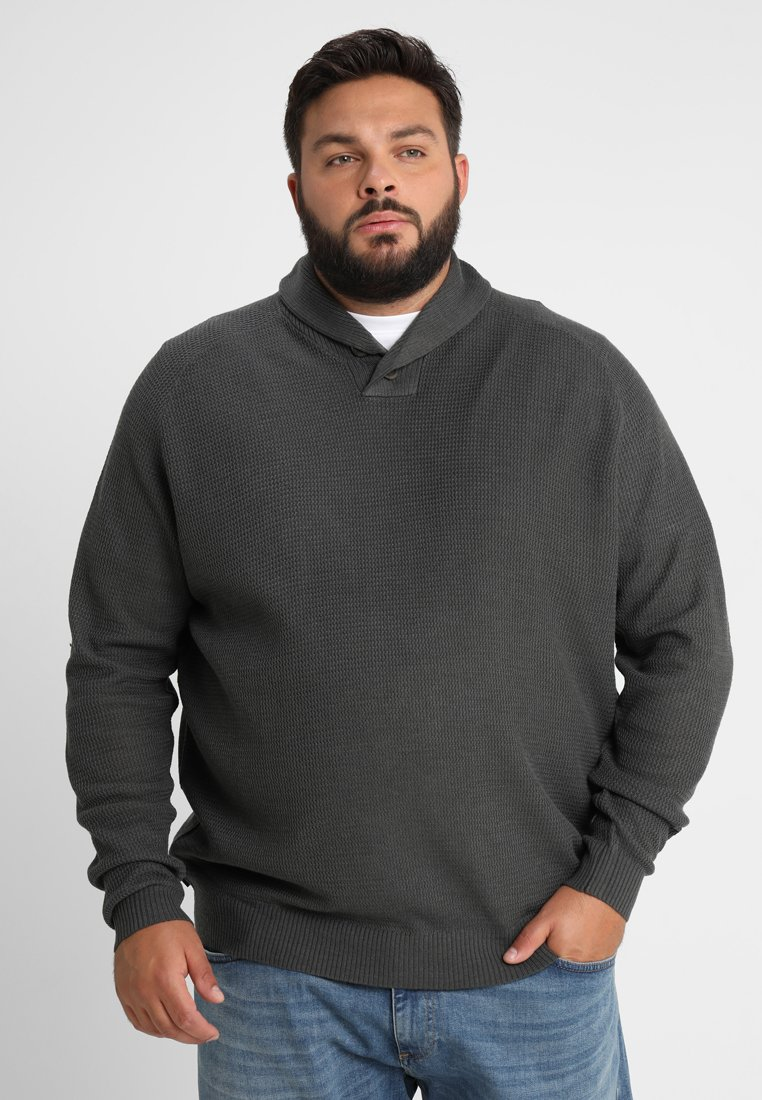 BAD RHINO - BUTTON SHAWL NECK PLUS - Stickad tröja - grey