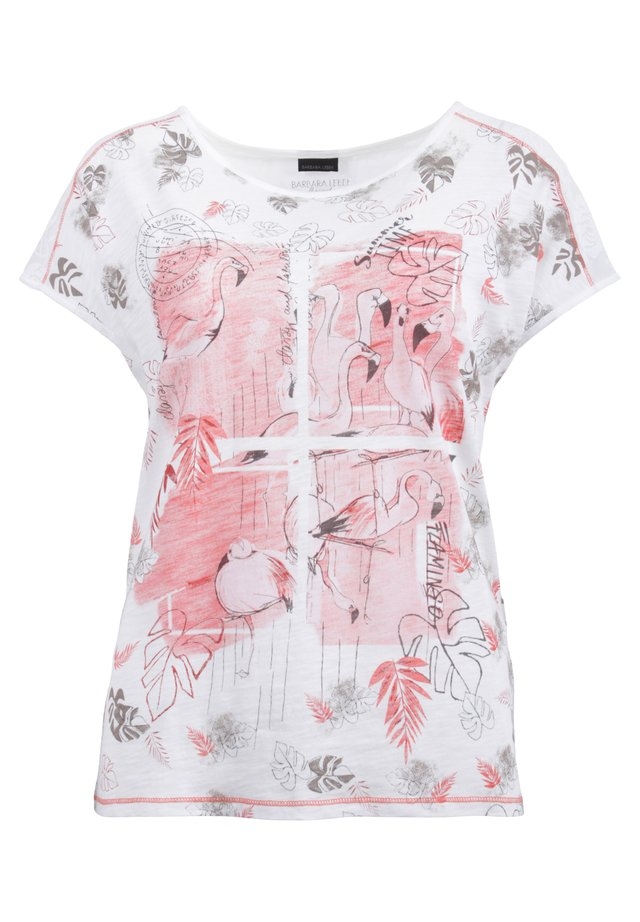 MIT SPITZE AN SCHULTERPASSE - Print T-shirt - offwhite/apicot